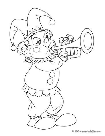 Joker mit trompete zum ausmalen zum ausmalen - de.hellokids.com