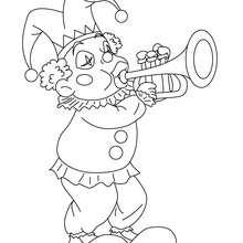 Joker mit Trompete zum Ausmalen