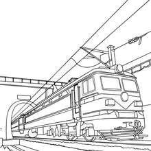 Alte Elektrobahn verlässt einen Tunnel zum Ausmalen