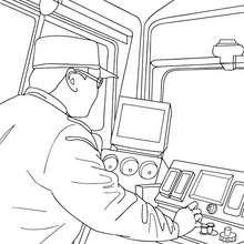 Zugführer fährt eine elektrische Bahn zum Ausmalen