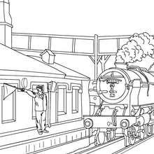 Bahnhofspersonal pfeift zur Abfahrt des alten Zuges zum Ausmalen