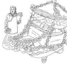 Chinesischer Blumenwagen zum Ausmalen