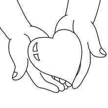 Herz in Händen zum Ausmalen