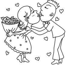 Verliebtes Paar zum Ausmalen