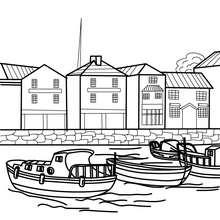 Hafen mit Booten zum Ausmalen