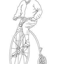 Radfahrer fährt ein altes Fahrrad zum Ausmalen