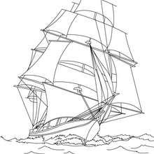 Schiff aus dem 17. Jahrhundert zum Ausmalen