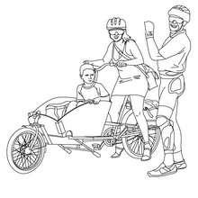 Familie fährt Fahrrad zum Ausmalen