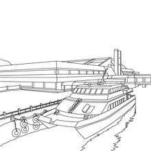 Pier mit Boot zum Ausmalen