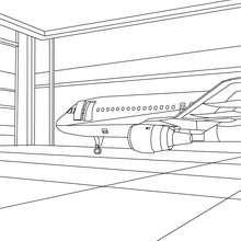 Flugzeug im Hangar zum Ausmalen