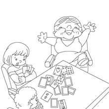 Großmutter spielt Karten zum Ausmalen
