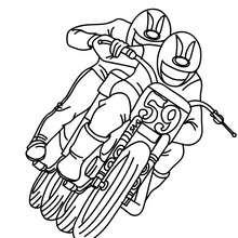 Zwei Geländemotorradfahrer zum Ausmalen