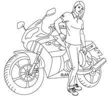 Motorradrennfahrer mit Helm zum Ausmalen