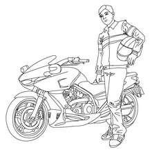 Motorradrennfahrer zum Ausmalen