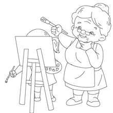 Oma malt zum Ausmalen