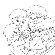 Oma liest eine Geschichte zum Ausmalen