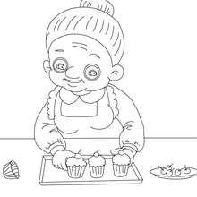 Oma backt Kuchen zum Ausmalen
