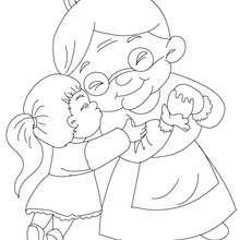 Mädchen umarmt Oma zum Ausmalen