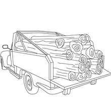 Pick-up mit Holz zum Ausmalen