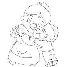 Junge umarmt Oma zum Ausmalen