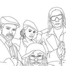 Amerikanische Gruppe The Black Eyed Peas zum Ausmalen
