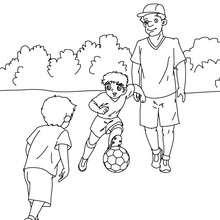 Papa spielt Fussball zum Ausmalen