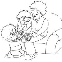 Papa liest ein Buch zum Ausmalen