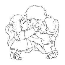 Kinder umarmen Papa zum Ausmalen