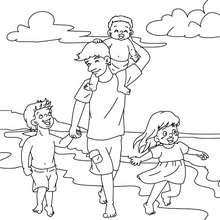 Vater mit Kindern am Strand zum Ausmalen