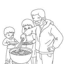 Papa grillt zum Ausmalen