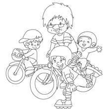 Papa übt mit Kindern Fahrradfahren zum Ausmalen