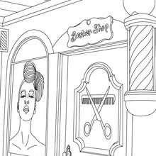 Friseursalon zum Ausmalen