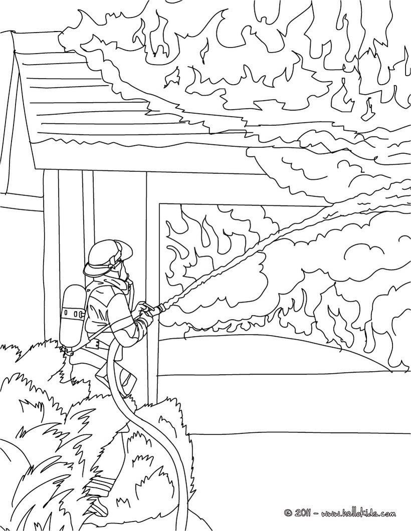 Feuerwehrmann löscht Feuer zum Ausmalen