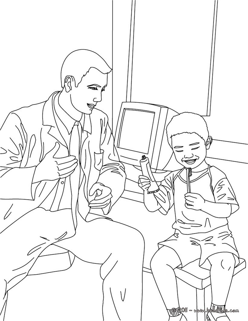 Zahnarzt und kind im zahn op zum ausmalen zum ausmalen ...