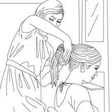 Mädchen beim Friseur zum Ausmalen