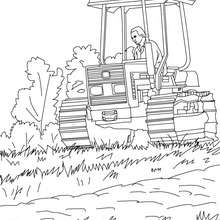 Bauer auf seinem Traktor zum Ausmalen