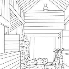 Bauer lagert Stroh zum Ausmalen