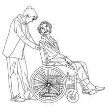 Krankenschwester kümmert sich um einen alten Patienten zum Ausmalen