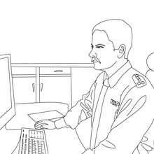 Polizist auf der Polizeiwache zum Ausmalen