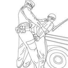 Polizist verhaftet einen Dieb zum Ausmalen
