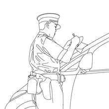 Polizei Autokontrolle zum Ausmalen