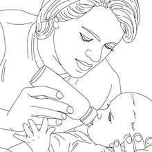 Kinderkrankenschwester gibt Neugeborenem die Flasche zum Ausmalen