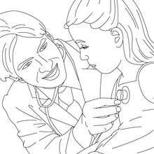 Kind mit Arzt zum Ausmalen