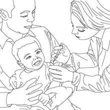 Kind wird vom Arzt geimpft zum Ausmalen