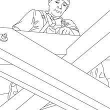 Tischler auf einem Dachgerüst zum Ausmalen