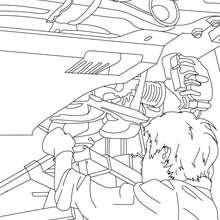 Mechaniker repariert ein Auto zum Ausmalen