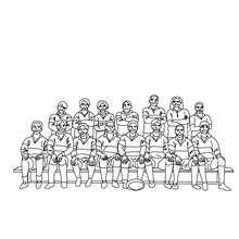 Rugbymannschaft zum Ausmalen