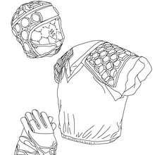 Rugby Helm, Handschuhe und Körperrüstung zum Ausmalen