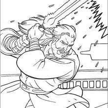 Jediritter Qui-Gon Jinn mit einem Laserschwert