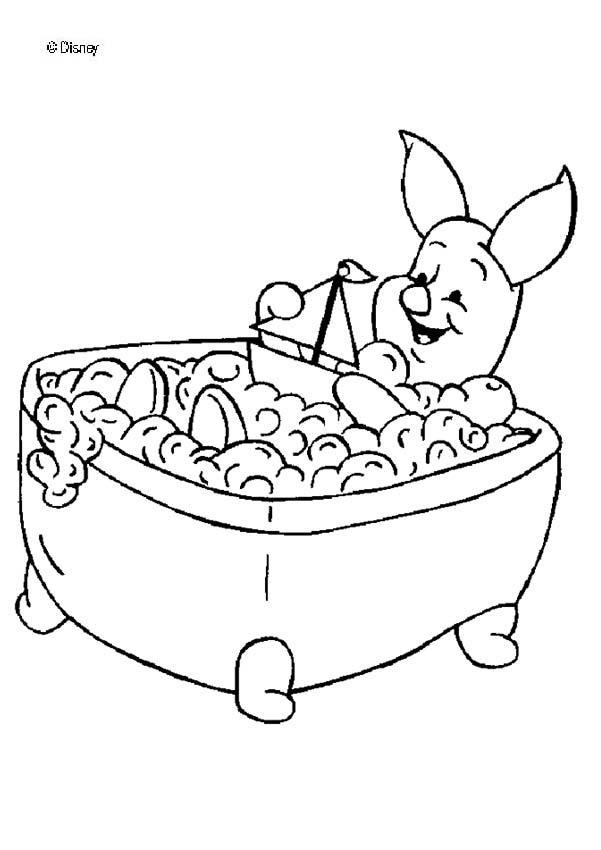 Ferkel badet zum ausmalen - de.hellokids.com